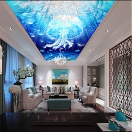 3D Blue Brine Pattern PVC Waterproof Sturdy Eco-friendly Self-Adhesive Ceiling Murals