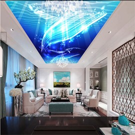 3D Blue Sea Pattern PVC Waterproof Sturdy Eco-friendly Self-Adhesive Ceiling Murals