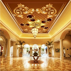 3D Orange Background with Floral Pattern PVC Waterproof Sturdy Eco-friendly Self-Adhesive Ceiling Murals