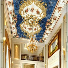 3D Flowers Blue Background PVC Waterproof Sturdy Eco-friendly Self-Adhesive Ceiling Murals