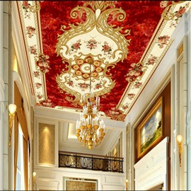 3D Floral Pattern Red Background PVC Waterproof Sturdy Eco-friendly Self-Adhesive Ceiling Murals