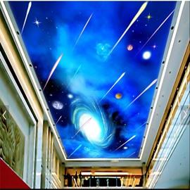 3D Meteor Pattern PVC Waterproof Sturdy Eco-friendly Self-Adhesive Ceiling Murals