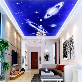 3D Planets Operating in Universe PVC Waterproof Sturdy Eco-friendly Self-Adhesive Ceiling Murals