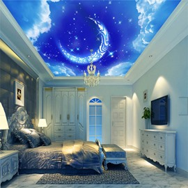3D Blue Sky Moon Pattern PVC Waterproof Sturdy Eco-friendly Self-Adhesive Ceiling Murals