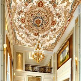 3D Golden Borders Printed PVC Waterproof Sturdy Eco-friendly Self-Adhesive Ceiling Murals