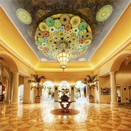 3D Colored Flowers Printed PVC Waterproof Sturdy Eco-friendly Self-Adhesive Ceiling Murals