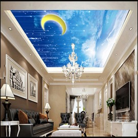 3D Moon Blue Sky Printed PVC Waterproof Sturdy Eco-friendly Self-Adhesive Ceiling Murals