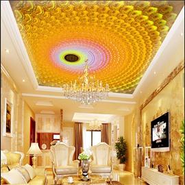 3D Yellow Whirlpools Printed PVC Waterproof Sturdy Eco-friendly Self-Adhesive Ceiling Murals