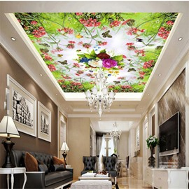 3D Flowers Printed PVC Waterproof Sturdy Eco-friendly Self-Adhesive Ceiling Murals