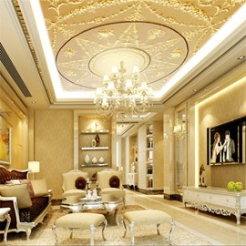 3D Golden Pattern Background PVC Waterproof Sturdy Eco-friendly Self-Adhesive Ceiling Murals