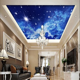 3D Blue Star Sky Printed PVC Waterproof Sturdy Eco-friendly Self-Adhesive Ceiling Murals