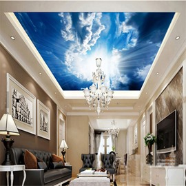 3D Blue Sky Bright Sun Printed PVC Waterproof Sturdy Eco-friendly Self-Adhesive Ceiling Murals