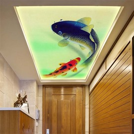 3D Swimming Fishes PVC Waterproof Sturdy Eco-friendly Self-Adhesive Ceiling Murals