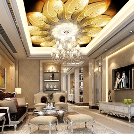 3D Golden Blooming Flower PVC Waterproof Sturdy Eco-friendly Self-Adhesive Ceiling Murals