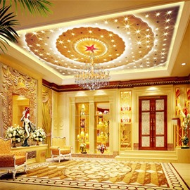 3D Golden Hall Ceiling Printed PVC Waterproof Sturdy Eco-friendly Self-Adhesive Ceiling Murals