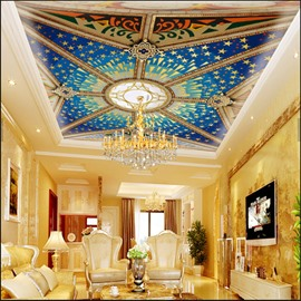 3D Blue PVC Waterproof Sturdy Eco-friendly Self-Adhesive Ceiling Murals