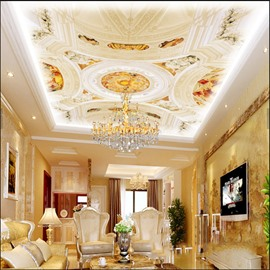 3D White Sculpture PVC Waterproof Sturdy Eco-friendly Self-Adhesive Ceiling Murals