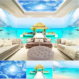 Blue Sky and Beach with Pavilion Pattern 3D Waterproof Ceiling and Wall Murals