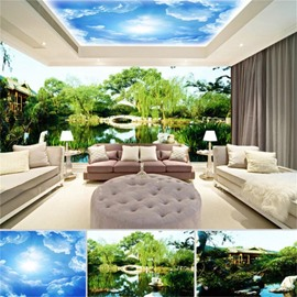 Blue Sky and Gardens with Trees Pattern 3D Waterproof Ceiling and Wall Murals