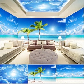 Blue Sky and Coconut Tree Pattern 3D Waterproof Ceiling and Wall Murals