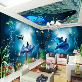 Blue Ocean Dolphin with Reef Pattern 3D Waterproof Ceiling and Wall Murals