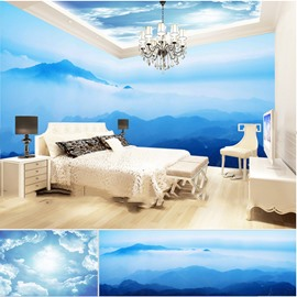 Blue Sky and Mountains with Cloud Pattern 3D Waterproof Ceiling and Wall Murals