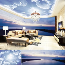 Blue Sky Lakes and Cloud Pattern 3D Waterproof Ceiling and Wall Murals
