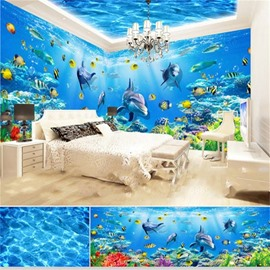 Blue Ocean Dolphins and Fish Pattern 3D Waterproof Ceiling and Wall Murals