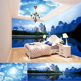 Blue Sky Mountains with Lake Pattern 3D Waterproof Ceiling and Wall Murals