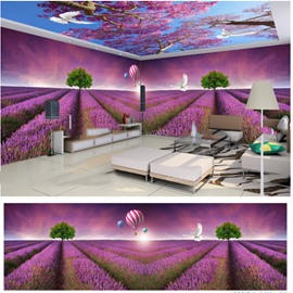 Bird and Blue Sky Lavender Fields Pattern 3D Waterproof Ceiling and Wall Murals