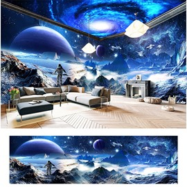 Blue Milky Way and Planet Surface Pattern 3D Waterproof Ceiling and Wall Murals
