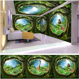 Green Bend Trunk and Animal Pattern 3D Waterproof Ceiling and Wall Murals