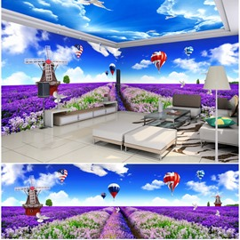 Blue Sky and Lavender Fields with Windmill Pattern 3D Waterproof Ceiling and Wall Murals