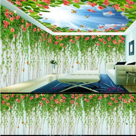 Blue Sky and Boston Ivy with Flower Pattern 3D Waterproof Ceiling and Wall Murals
