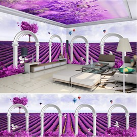 Purple Lavender with Dove Pattern 3D Waterproof Ceiling and Wall Murals