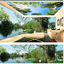 Blue Sky and Lake with Lotus Leaf Pattern 3D Waterproof Ceiling and Wall Murals
