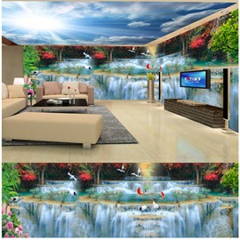 Blue Sky and Waterfall with Crane Pattern 3D Waterproof Ceiling and Wall Murals