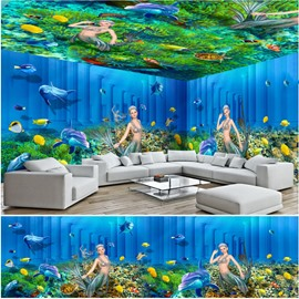 Green Coral and Mermaids Pattern 3D Waterproof Ceiling and Wall Murals