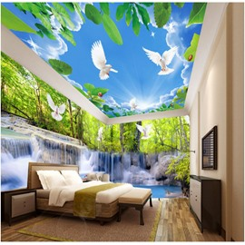 Blue Sky and Dove with Waterfall Pattern 3D Waterproof Ceiling and Wall Murals