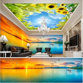 Blue Sky with Sunflower Sunset Pattern 3D Waterproof Ceiling and Wall Murals