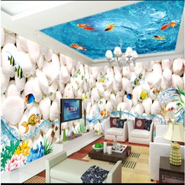 Blue Ocean and Stone with Fish Pattern 3D Waterproof Ceiling and Wall Murals