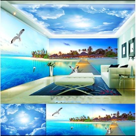 Blue Sky and Lake with Dove Pattern 3D Waterproof Ceiling and Wall Murals