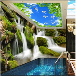 Blue Sky and Waterfall Pattern 3D Waterproof Ceiling and Wall Murals