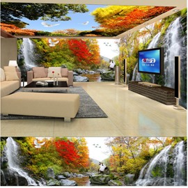 Blue Sky and Tree with Dove and Crane Pattern 3D Waterproof Ceiling and Wall Murals