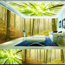 Green and Yellow Tree Pattern 3D Waterproof Ceiling and Wall Murals