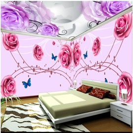 Pink and Purple Rose Pattern 3D Waterproof Ceiling and Wall Murals