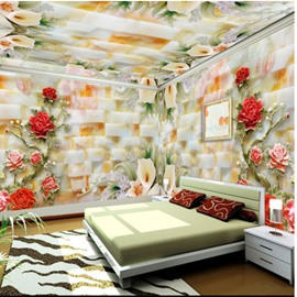 Red Rose and Yellow Callas Pattern 3D Waterproof Ceiling and Wall Murals