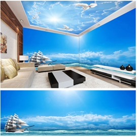 Blue Sky with Sailing Boat Pattern 3D Waterproof Ceiling and Wall Murals
