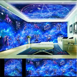 Blue Constellation Cartoon Pattern 3D Waterproof Ceiling and Wall Murals