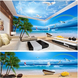 Blue Sky and Beach with Rainbow Pattern 3D Waterproof Ceiling and Wall Murals